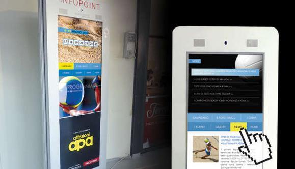 Totem Touch Screen 20'' posizionati in 11 Centri Swatch Fivb di Roma