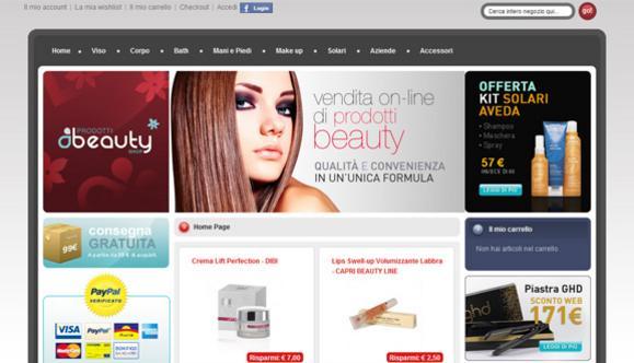 Realizzazione sito web Prodotti Beauty Shop