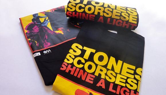 Realizzazione gadget film Shine a light - t-shirt